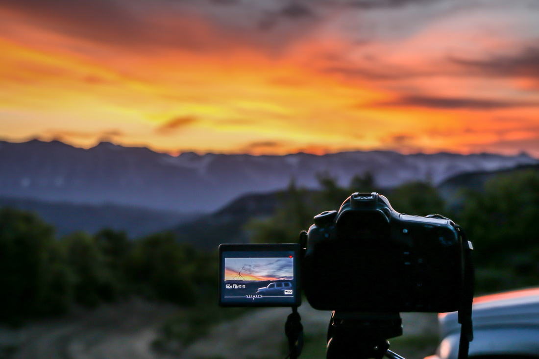 Capturing sunrise over the Rocky Mountains above home in Paonia, CO.